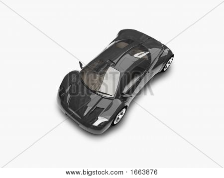 Isolated Black Super Car Top View 02
