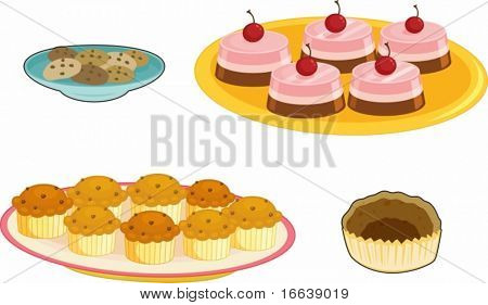 illustration of various food items on white