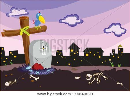 Abbildung von Todesstein und Cross auf weiß