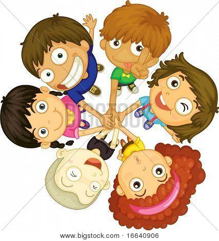 illustration of kids faces on white background