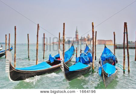 Gondola Moored At Molo San Marco In Venice Italy