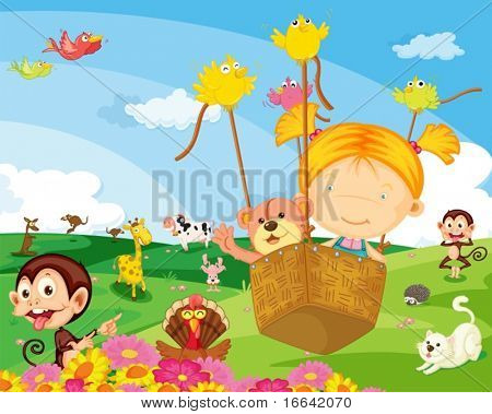 Illustration of a girl with various animals on colorful background