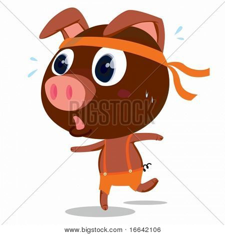 Illustration of A Running Pig on white background