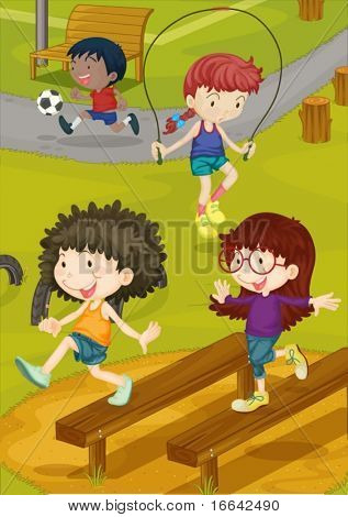 Illustration of kids playing on a ground