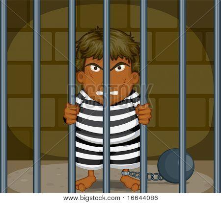Illustration of a prisoner in a jail