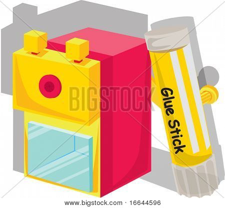 Illustration of a glue stick on a white background