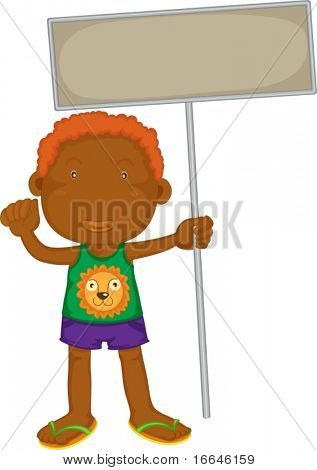 Illustration of A Boy Holding Board on white background