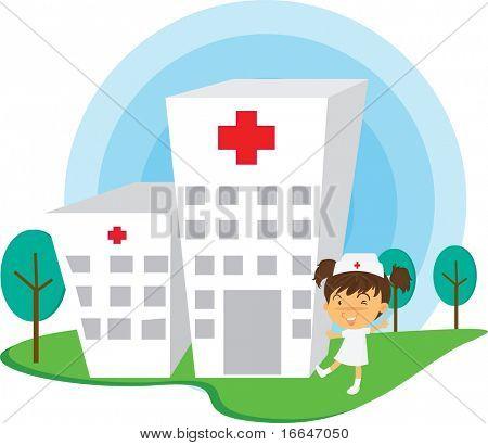 Illustration of A Nurse Near Hospital on white background