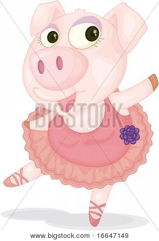 Illustration of A Dancing Pig on white background