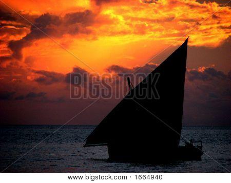Zonsondergang Dhow
