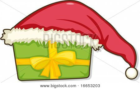 illustration of santaclause cap on a white background