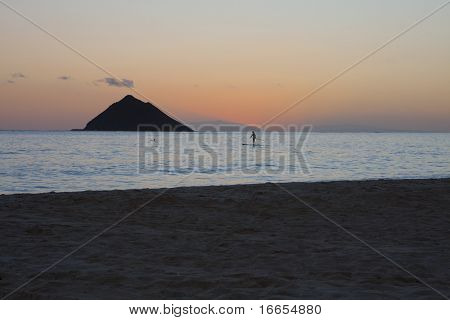 Lanikai Beach Sunrise With Paddleboarder