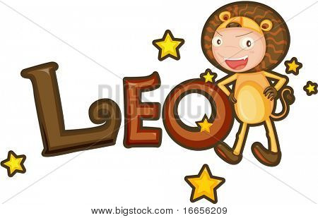 illustration of Zodiac sign leo on a white background