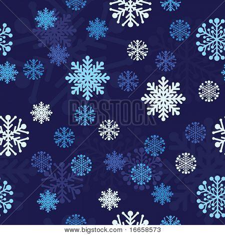 Snow Seamless Dark Blue Vector Background. Seamless Background Series.