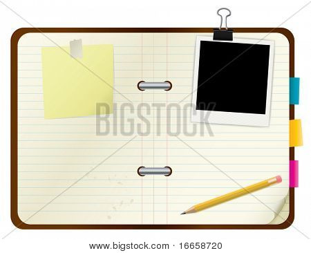 Open book with picture frame and post-its. Vector Image.