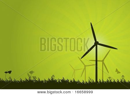 Green power vector abstract background