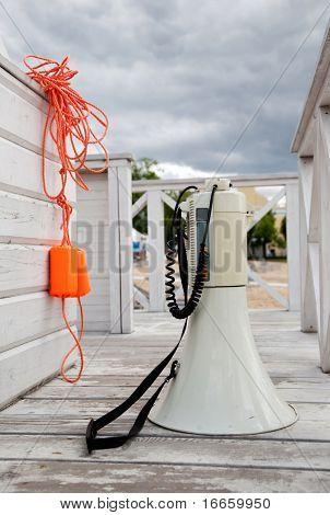 White Loudspeaker On The Safeguard Post