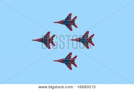 "MOSCOW, RUSSIA, AUGUST,18: Aerobatic team ""Strizhy"" (Swifts) on fighters Mig-29 at the International Aviation and Space salon MAKS,  August,18, 2009 at Zhukovsky, Russia"
