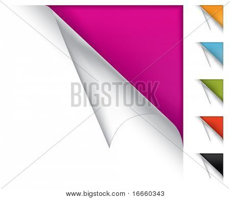 Colorful vector page curled corners on white background