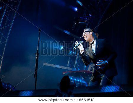 ARKHANGELSKOE - JUNE 6: Russian singer Aleksandr Ponaiotov. 7th International Jazz Festival