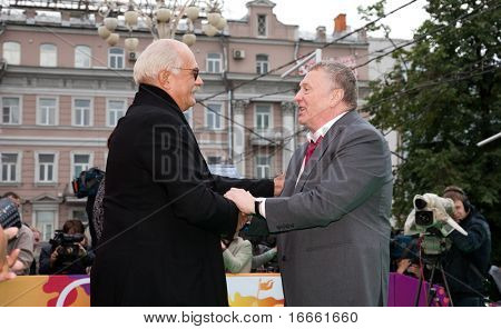 MOSCOW - JUNE 17: Nikita Mikhalkov and russian deputy Vladimir Zhirinivsky. Opening Ceremony Of 32st Moscow International Film Festival at Pushkinsky Cinema. June 17, 2010 in Moscow, Russia.