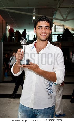MOSCOW - JUNE 26: Albanian actor Nik Xhelila. Award for Best Actor. Closing ceremony of 32st Moscow International Film Festival on June 26, 2010 in Moscow, Russia
