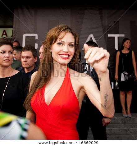 MOSCOW - JULY 25: Actress Angelina Jolie at the premiere of the movie