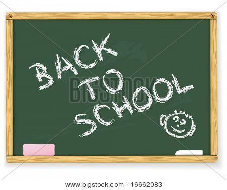 Voltar ao texto da escola no quadro-negro do vetor