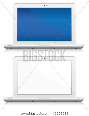 Blank laptop computers set. Vector electronic objects collection.