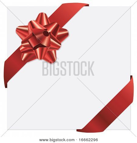 Red bow and ribbons vector holiday card