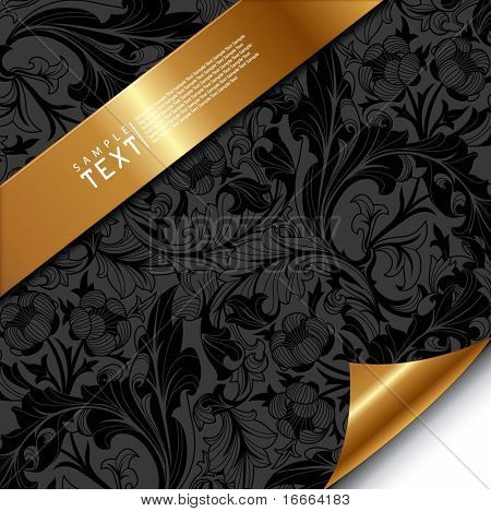 Floral Background with Golden Band