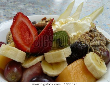 Fruit Salad, Museli And Yoghurt
