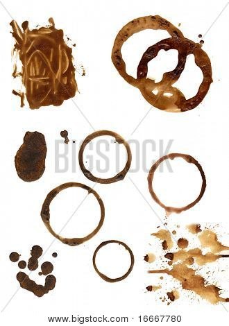 Coffee stains and splashes, isolated on white.