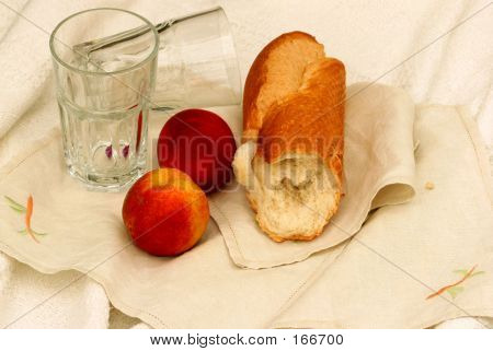 Crusty Bread And Fruit Snack