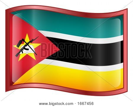 Mozambique Flag Icon. (With Clipping Path)