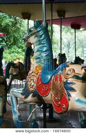Carousel or Merry-go-round horses, part of a funfair novelty ride for children