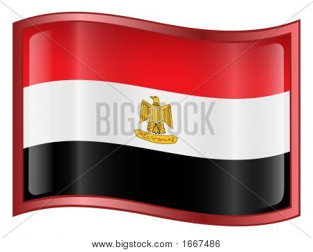 Egypt Flag Icon. (With Clipping Path)