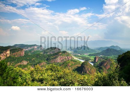 mountain under blue sky in jiangxi china