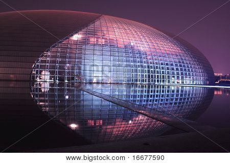 China National Grand Theater (National Center for the Performing Arts) or the Egg at night, Beijing, China