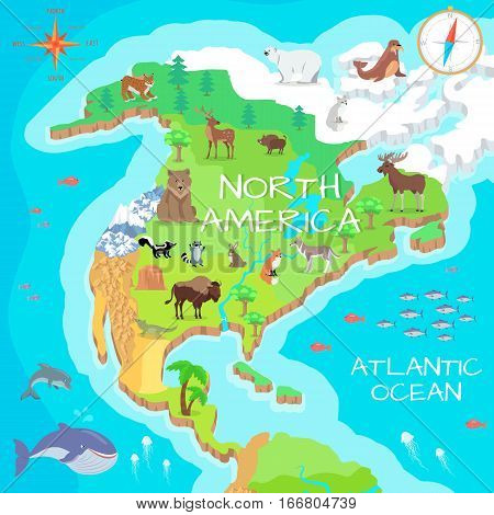 North America Isometric Map Flora Vector Photo Bigstock