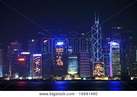 Hongkong,CN- Dec 14:night scene of Victorail Harbour in Dec 14,2008 in Hongkong,CN