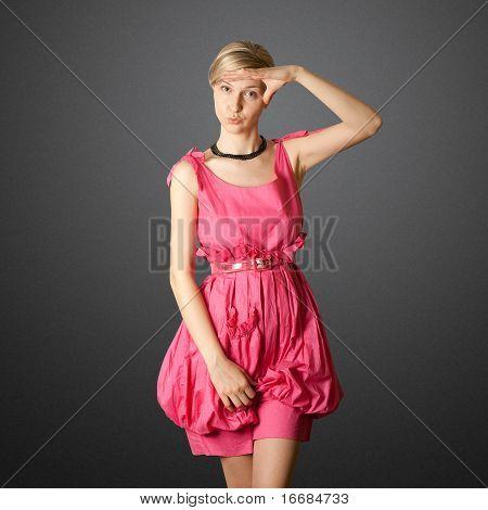 Sexy Female Stewardess In Pink