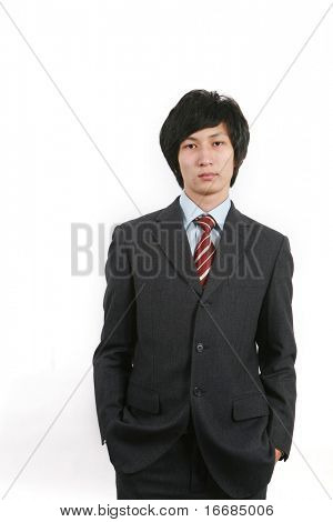 young asian business man standing with white background