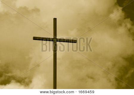 Sepia getönten Cross Himmel