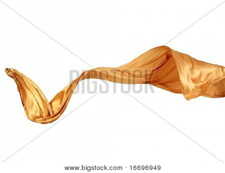 Smooth elegant golden satin isolated on white background