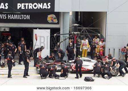 Jenson Button does a trial pit