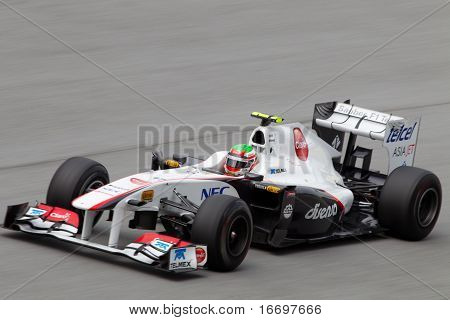 Sergio Perez on a high speed straight
