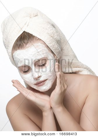 closeup woman portrait on white background