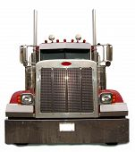 picture of semi-truck  - Front view of a long haul diesel semi truck - JPG