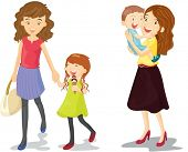 illustration of kids with mummy